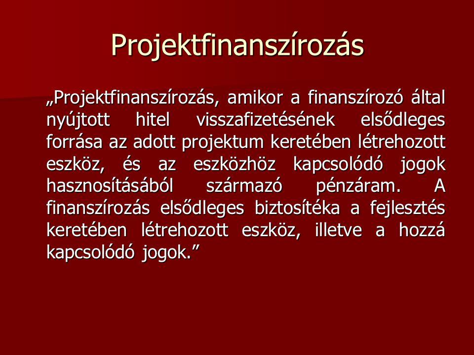 """Projektfinanszírozás """"Projektfinanszírozás, amikor a finanszírozó által nyújtott hitel visszafizetésének elsődleges forrása az adott projektum keretében létrehozott eszköz, és az eszközhöz kapcsolódó jogok hasznosításából származó pénzáram."""