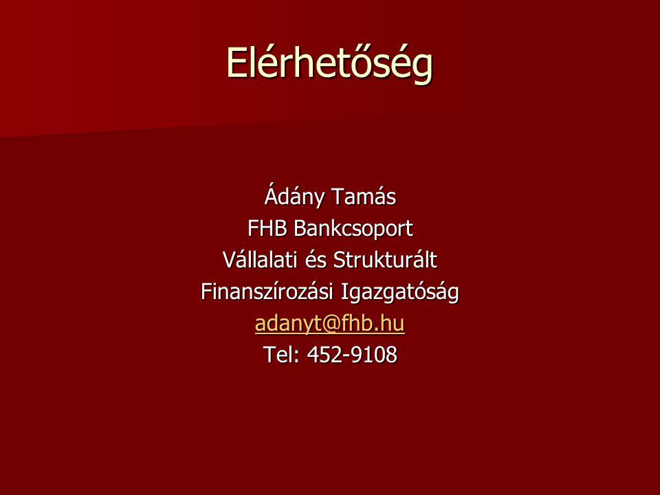 Elérhetőség Ádány Tamás FHB Bankcsoport Vállalati és Strukturált Finanszírozási Igazgatóság adanyt@fhb.hu Tel: 452-9108