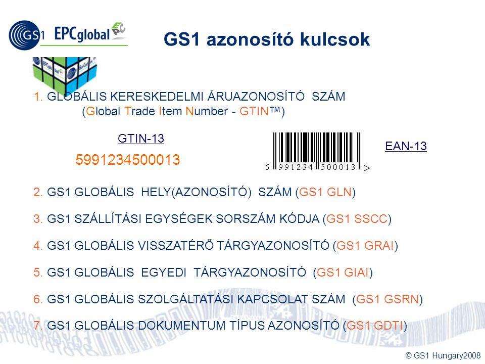 © GS1 Hungary2008 GS1 azonosító kulcsok 6. GS1 GLOBÁLIS SZOLGÁLTATÁSI KAPCSOLAT SZÁM (GS1 GSRN) 5. GS1 GLOBÁLIS EGYEDI TÁRGYAZONOSÍTÓ (GS1 GIAI) 4. GS