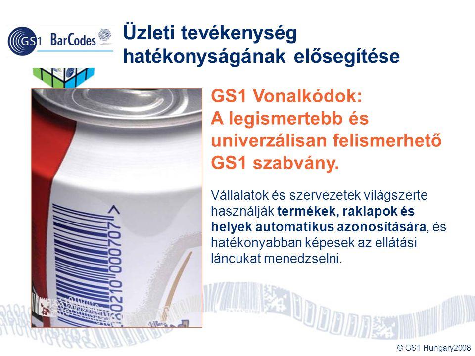 © GS1 Hungary2008 Üzleti tevékenység hatékonyságának elősegítése GS1 Vonalkódok: A legismertebb és univerzálisan felismerhető GS1 szabvány. Vállalatok