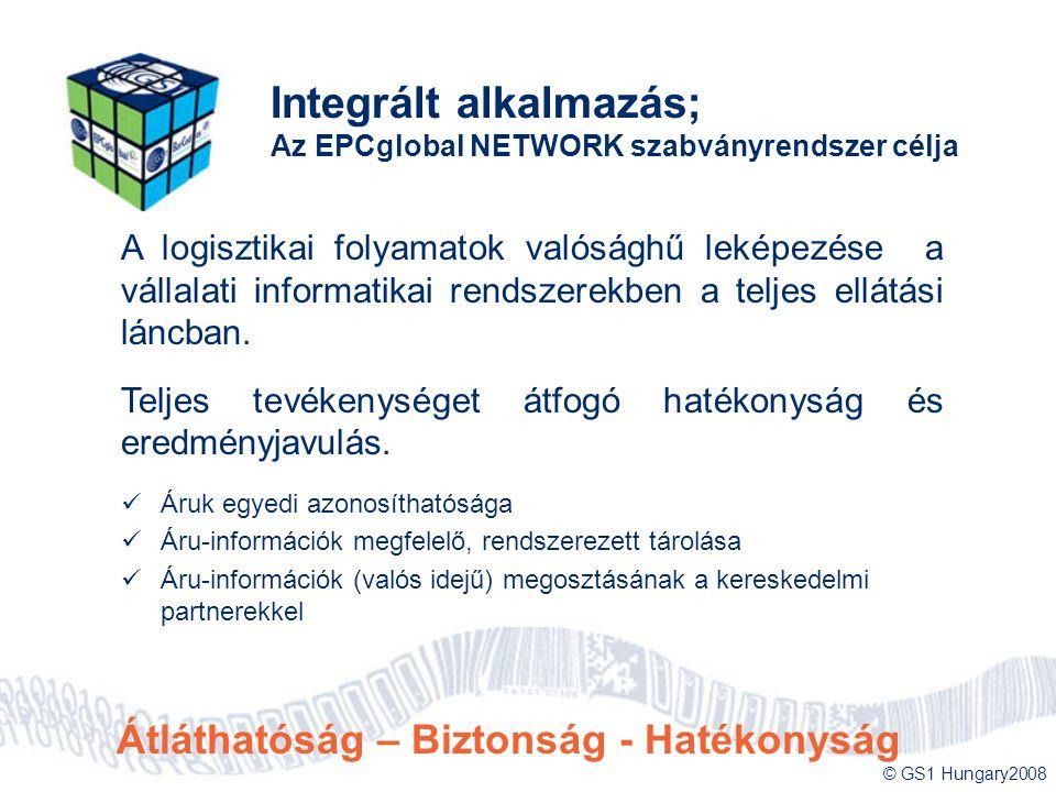 © GS1 Hungary2008 Integrált alkalmazás; Az EPCglobal NETWORK szabványrendszer célja A logisztikai folyamatok valósághű leképezése a vállalati informat