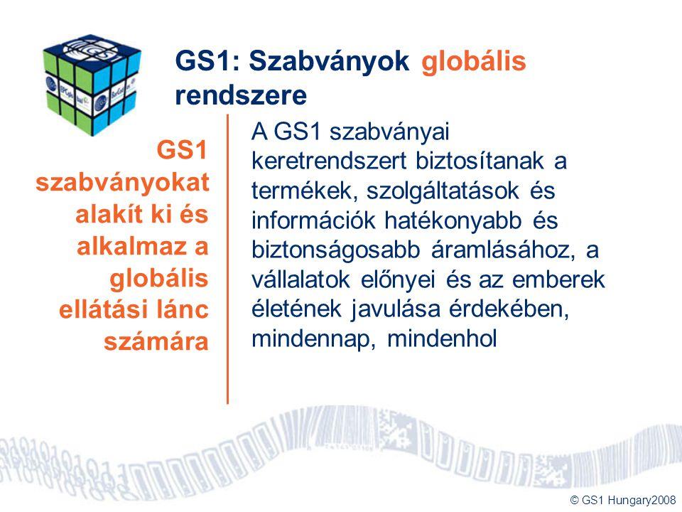 © GS1 Hungary2008 GS1 szabványokat alakít ki és alkalmaz a globális ellátási lánc számára GS1: Szabványok globális rendszere A GS1 szabványai keretren