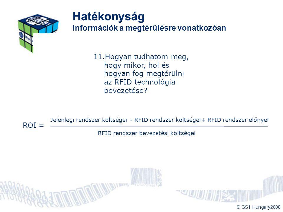 © GS1 Hungary2008 Hatékonyság Információk a megtérülésre vonatkozóan 1.Az RFID olyan, mint más azonosítók, csak távolabbról olvasható le. 2.Ha mások n