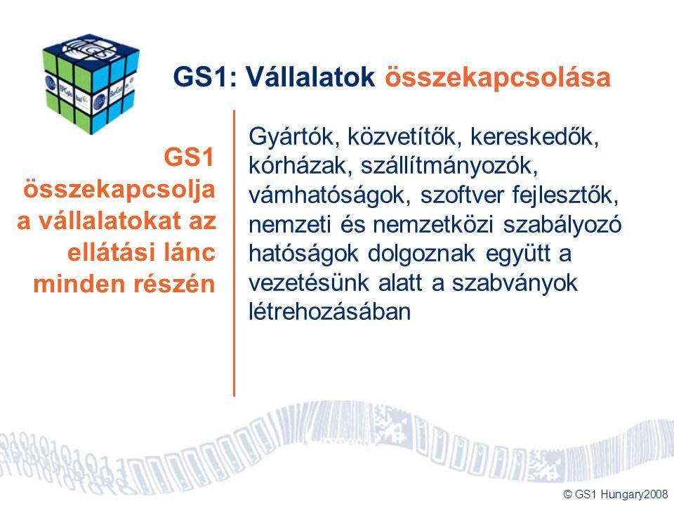 © GS1 Hungary2008 GS1 összekapcsolja a vállalatokat az ellátási lánc minden részén GS1: Vállalatok összekapcsolása Gyártók, közvetítők, kereskedők, kó