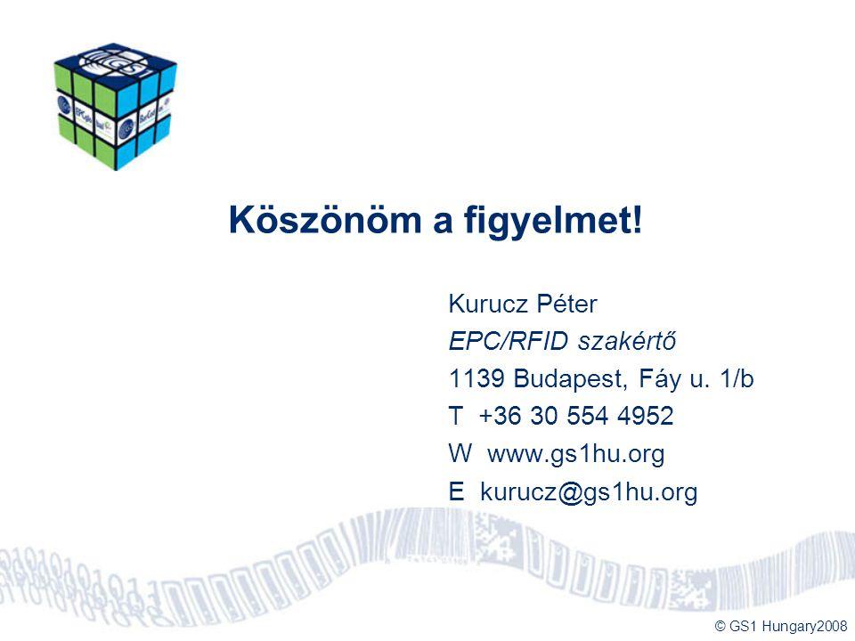 © GS1 Hungary2008 Köszönöm a figyelmet! Kurucz Péter EPC/RFID szakértő 1139 Budapest, Fáy u. 1/b T +36 30 554 4952 W www.gs1hu.org E kurucz@gs1hu.org