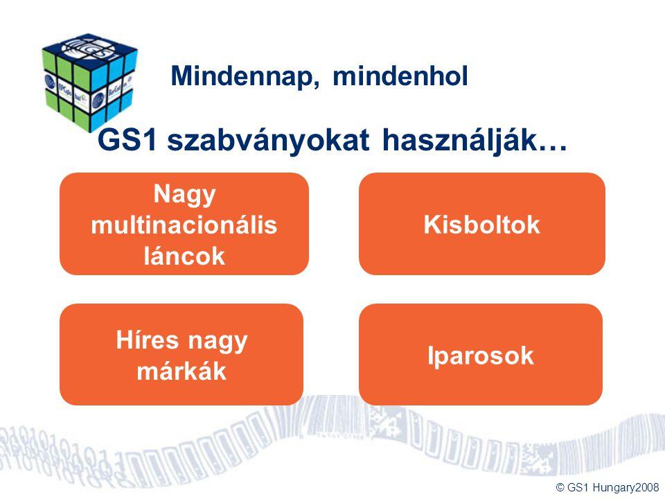 © GS1 Hungary2008 Mindennap, mindenhol GS1 szabványokat használják… Nagy multinacionális láncok Kisboltok Híres nagy márkák Iparosok