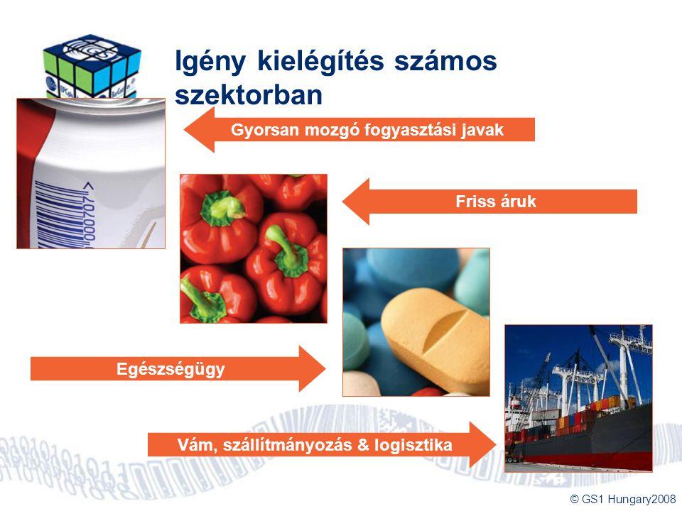 © GS1 Hungary2008 Igény kielégítés számos szektorban Egészségügy Gyorsan mozgó fogyasztási javak Friss áruk Vám, szállítmányozás & logisztika