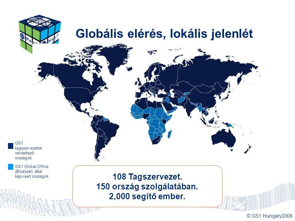 © GS1 Hungary2008 Globális elérés, lokális jelenlét 108 Tagszervezet. 150 ország szolgálatában. 2,000 segítő ember. GS1 tagszervezettel rendelkező ors
