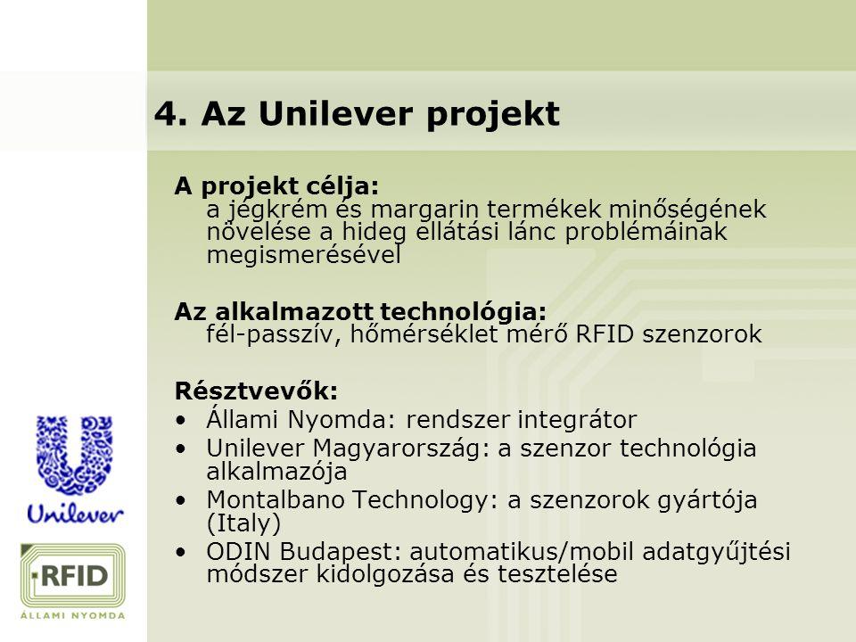 A projekt célja: a jégkrém és margarin termékek minőségének növelése a hideg ellátási lánc problémáinak megismerésével Az alkalmazott technológia: fél-passzív, hőmérséklet mérő RFID szenzorok Résztvevők: Állami Nyomda: rendszer integrátor Unilever Magyarország: a szenzor technológia alkalmazója Montalbano Technology: a szenzorok gyártója (Italy) ODIN Budapest: automatikus/mobil adatgyűjtési módszer kidolgozása és tesztelése 4.