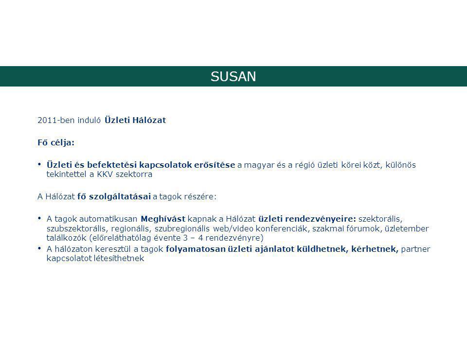 SUSAN 2011-ben induló Üzleti Hálózat Fő célja: Üzleti és befektetési kapcsolatok erősítése a magyar és a régió üzleti körei közt, különös tekintettel a KKV szektorra A Hálózat fő szolgáltatásai a tagok részére: A tagok automatikusan Meghívást kapnak a Hálózat üzleti rendezvényeire: szektorális, szubszektorális, regionális, szubregionális web/video konferenciák, szakmai fórumok, üzletember találkozók (előreláthatólag évente 3 – 4 rendezvényre) A hálózaton keresztül a tagok folyamatosan üzleti ajánlatot küldhetnek, kérhetnek, partner kapcsolatot létesíthetnek