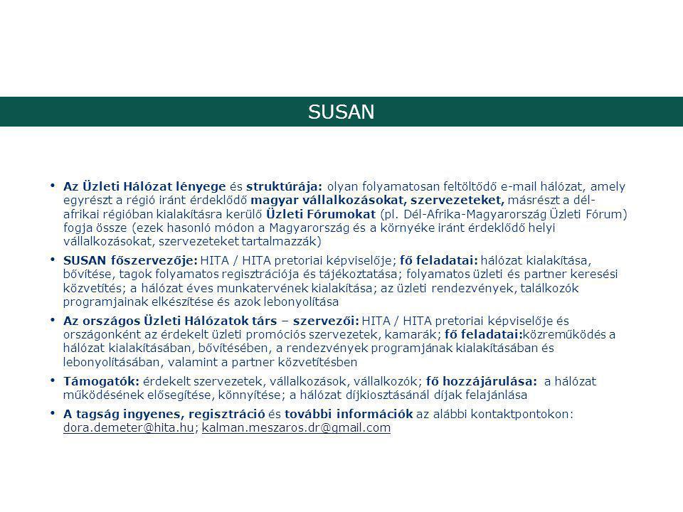 SUSAN Az Üzleti Hálózat lényege és struktúrája: olyan folyamatosan feltöltődő e-mail hálózat, amely egyrészt a régió iránt érdeklődő magyar vállalkozásokat, szervezeteket, másrészt a dél- afrikai régióban kialakításra kerülő Üzleti Fórumokat (pl.
