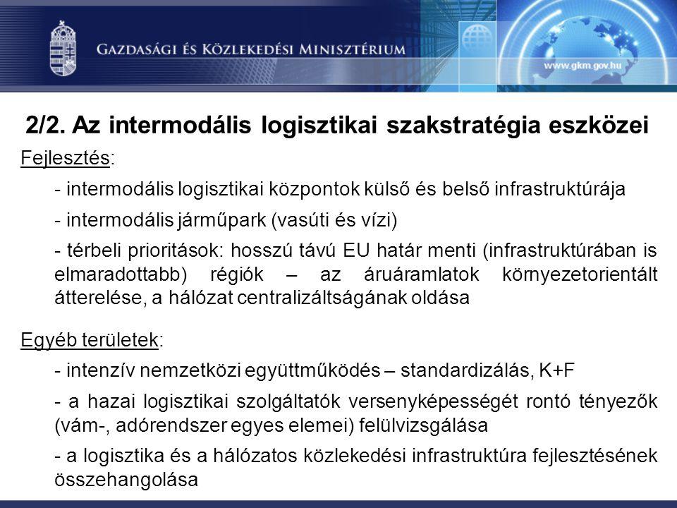 Fejlesztés: - intermodális logisztikai központok külső és belső infrastruktúrája - intermodális járműpark (vasúti és vízi) - térbeli prioritások: hosszú távú EU határ menti (infrastruktúrában is elmaradottabb) régiók – az áruáramlatok környezetorientált átterelése, a hálózat centralizáltságának oldása Egyéb területek: - intenzív nemzetközi együttműködés – standardizálás, K+F - a hazai logisztikai szolgáltatók versenyképességét rontó tényezők (vám-, adórendszer egyes elemei) felülvizsgálása - a logisztika és a hálózatos közlekedési infrastruktúra fejlesztésének összehangolása 2/2.