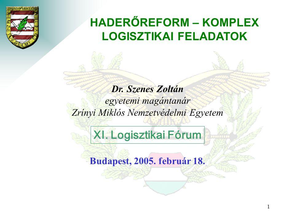 1 HADERŐREFORM – KOMPLEX LOGISZTIKAI FELADATOK Dr.