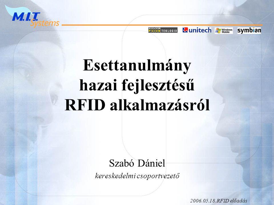 2006.05.18.RFID előadás Esettanulmány hazai fejlesztésű RFID alkalmazásról Szabó Dániel kereskedelmi csoportvezető
