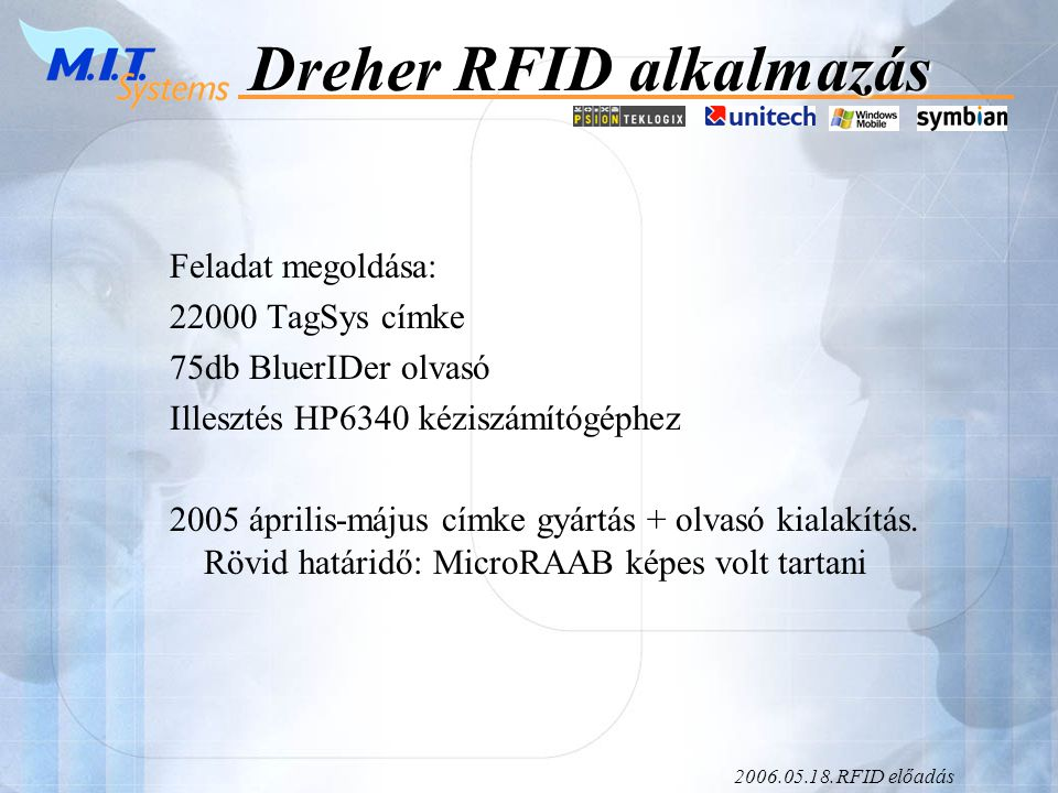 2006.05.18.RFID előadás Dreher RFID alkalmazás Feladat megoldása: 22000 TagSys címke 75db BluerIDer olvasó Illesztés HP6340 kéziszámítógéphez 2005 április-május címke gyártás + olvasó kialakítás.