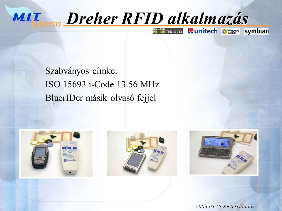2006.05.18.RFID előadás Dreher RFID alkalmazás Informatikai feldolgozás: - HORECA dolgozók feladatkiosztásánál és elszámolásánál használják.