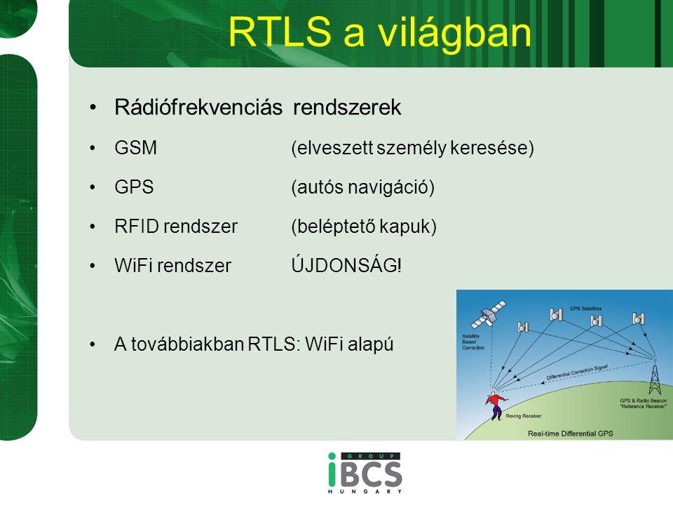 RTLS a világban Rádiófrekvenciás rendszerek GSM(elveszett személy keresése) GPS(autós navigáció) RFID rendszer(beléptető kapuk) WiFi rendszerÚJDONSÁG.
