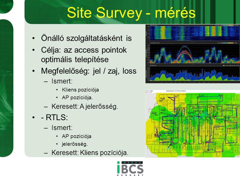 Site Survey - mérés Önálló szolgáltatásként is Célja: az access pointok optimális telepítése Megfelelőség: jel / zaj, loss –Ismert: Kliens pozíciója AP pozíciója.