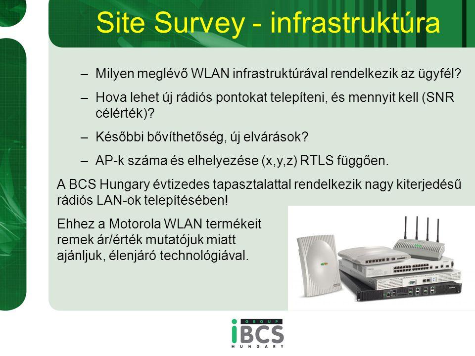 Site Survey - infrastruktúra –Milyen meglévő WLAN infrastruktúrával rendelkezik az ügyfél.