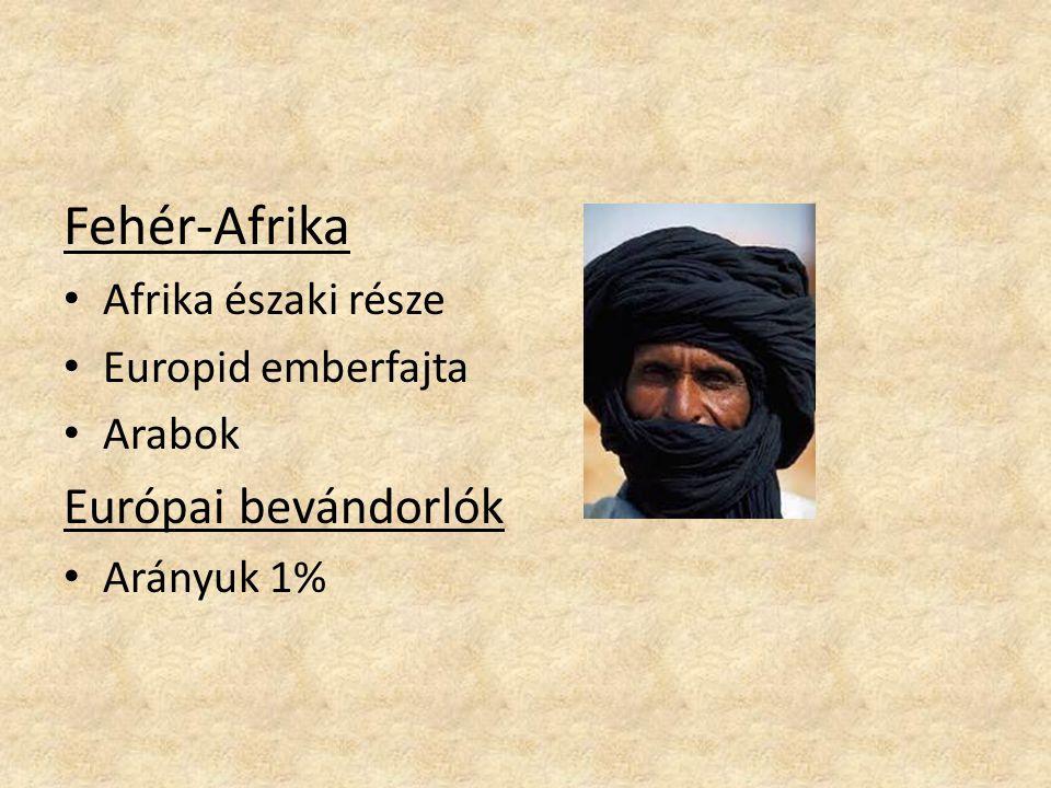 Fehér-Afrika Afrika északi része Europid emberfajta Arabok Európai bevándorlók Arányuk 1%