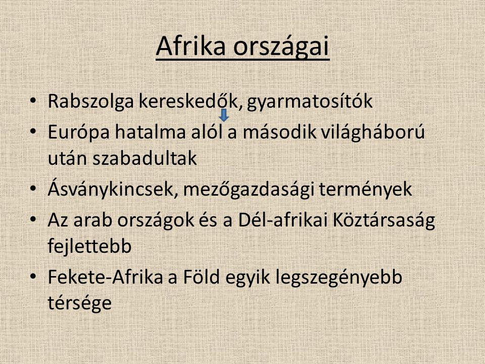 Afrika országai Rabszolga kereskedők, gyarmatosítók Európa hatalma alól a második világháború után szabadultak Ásványkincsek, mezőgazdasági termények Az arab országok és a Dél-afrikai Köztársaság fejlettebb Fekete-Afrika a Föld egyik legszegényebb térsége