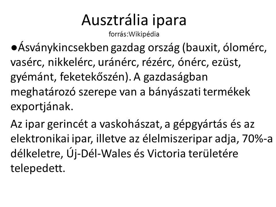 Ausztrália ipara forrás:Wikipédia ●Ásványkincsekben gazdag ország (bauxit, ólomérc, vasérc, nikkelérc, uránérc, rézérc, ónérc, ezüst, gyémánt, feketek