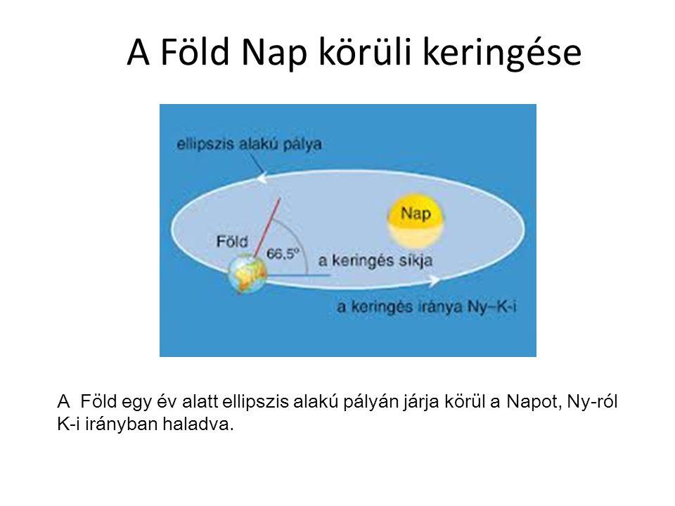 A Föld Nap körüli keringése A Föld egy év alatt ellipszis alakú pályán járja körül a Napot, Ny-ról K-i irányban haladva.