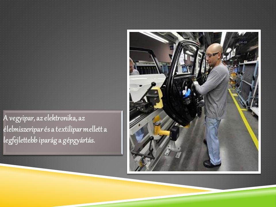 A vegyipar, az elektronika, az élelmiszeripar és a textilipar mellett a legfejlettebb iparág a gépgyártás.