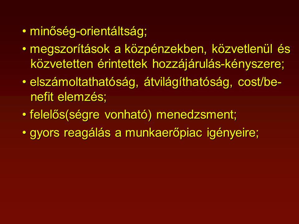 az akkreditáció súlypontját a bemeneti jellem- zők → folyamatértékelés → kimeneti minő- sítés (visszacsatolás) irányába mozdítsuk; a magyar FO-ban a mennyiség helyett a minőség legyen a meghatározó fejlődési elem (lásd: a bor minősítése); hasznos és fontos lenne egy új elem bevonása a minőségügybe (akkreditációba): a felsőokt.