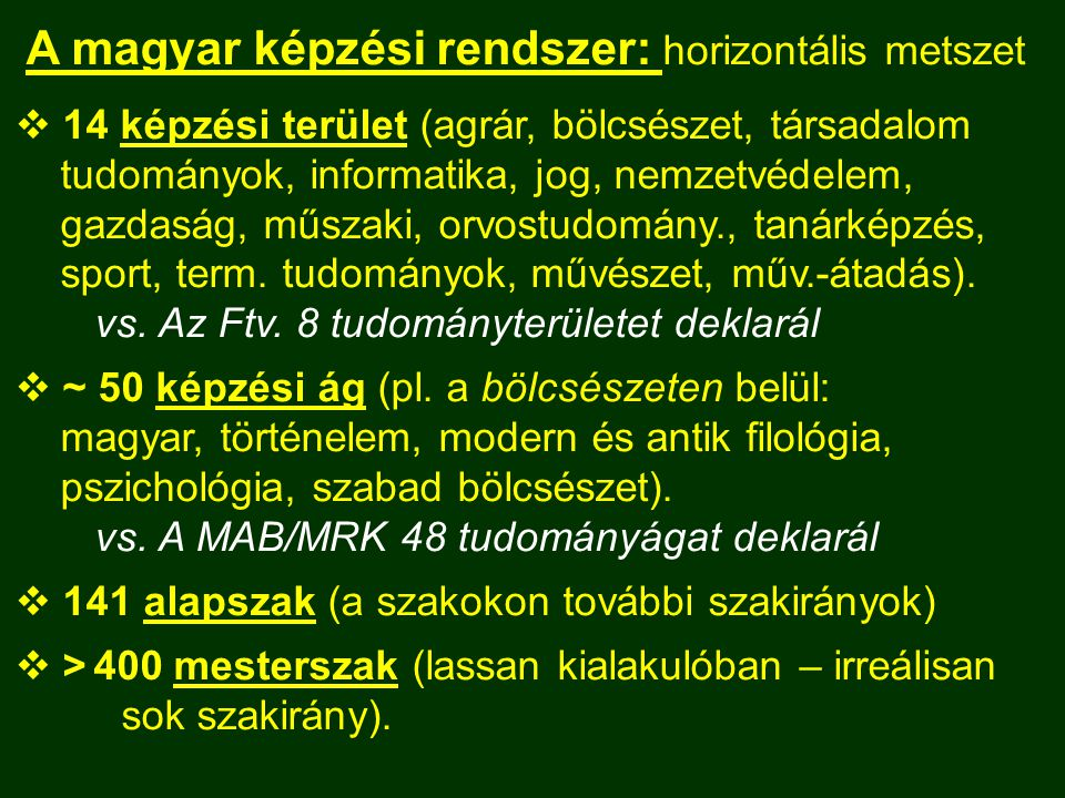 A magyar képzési rendszer: horizontális metszet  14 képzési terület (agrár, bölcsészet, társadalom tudományok, informatika, jog, nemzetvédelem, gazda