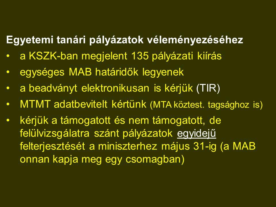 Egyetemi tanári pályázatok véleményezéséhez a KSZK-ban megjelent 135 pályázati kiírás egységes MAB határidők legyenek a beadványt elektronikusan is kérjük (TIR) MTMT adatbevitelt kértünk (MTA köztest.