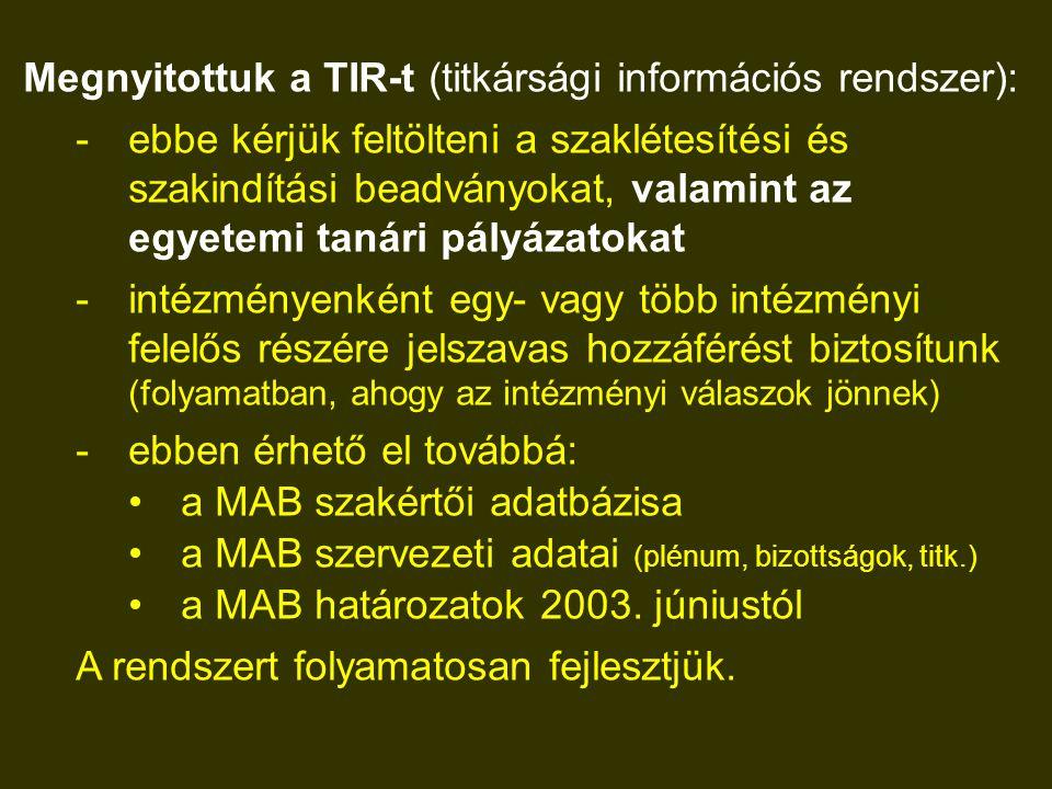 Megnyitottuk a TIR-t (titkársági információs rendszer): -ebbe kérjük feltölteni a szaklétesítési és szakindítási beadványokat, valamint az egyetemi tanári pályázatokat -intézményenként egy- vagy több intézményi felelős részére jelszavas hozzáférést biztosítunk (folyamatban, ahogy az intézményi válaszok jönnek) -ebben érhető el továbbá: a MAB szakértői adatbázisa a MAB szervezeti adatai (plénum, bizottságok, titk.) a MAB határozatok 2003.