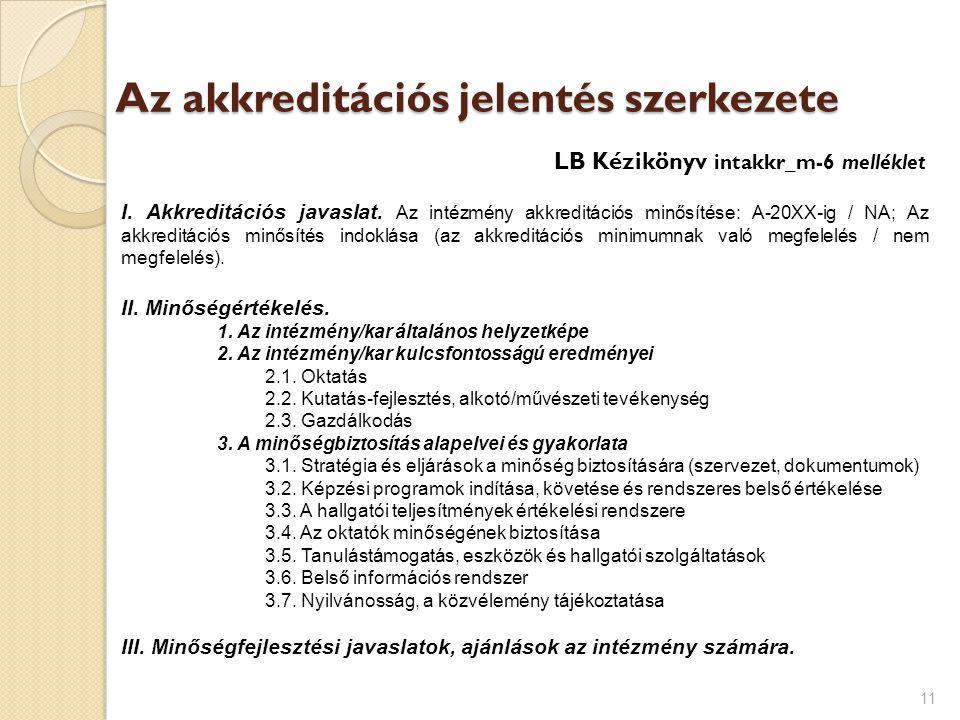 Az akkreditációs jelentés szerkezete 11 I. Akkreditációs javaslat. Az intézmény akkreditációs minősítése: A-20XX-ig / NA; Az akkreditációs minősítés i
