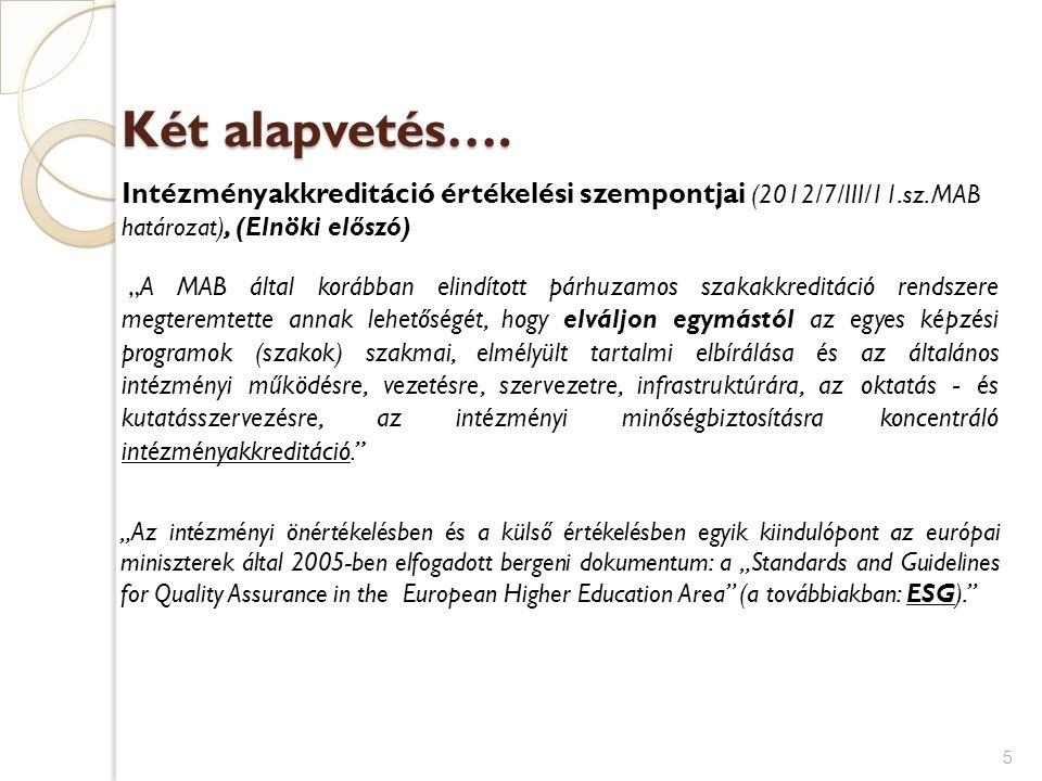 """Két alapvetés…. Intézményakkreditáció értékelési szempontjai (2012/7/III/11.sz. MAB határozat), (Elnöki előszó) """"A MAB által korábban elindított párhu"""