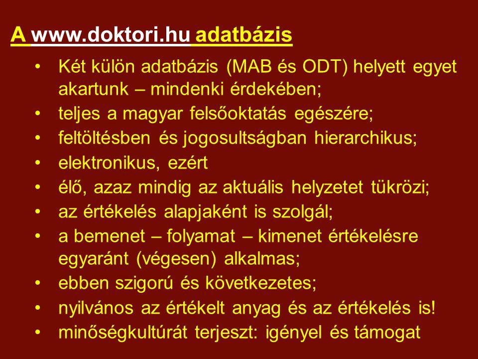 A www.doktori.hu adatbázis Két külön adatbázis (MAB és ODT) helyett egyet akartunk – mindenki érdekében; teljes a magyar felsőoktatás egészére; feltöltésben és jogosultságban hierarchikus; elektronikus, ezért élő, azaz mindig az aktuális helyzetet tükrözi; az értékelés alapjaként is szolgál; a bemenet – folyamat – kimenet értékelésre egyaránt (végesen) alkalmas; ebben szigorú és következetes; nyilvános az értékelt anyag és az értékelés is.