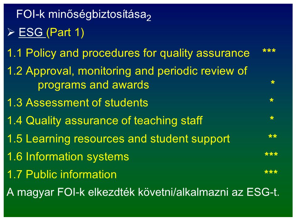 FOI-k minőségbiztosítása 2  ESG (Part 1) 1.1 Policy and procedures for quality assurance *** 1.2 Approval, monitoring and periodic review of programs and awards * 1.3 Assessment of students * 1.4 Quality assurance of teaching staff * 1.5 Learning resources and student support ** 1.6 Information systems *** 1.7 Public information *** A magyar FOI-k elkezdték követni/alkalmazni az ESG-t.