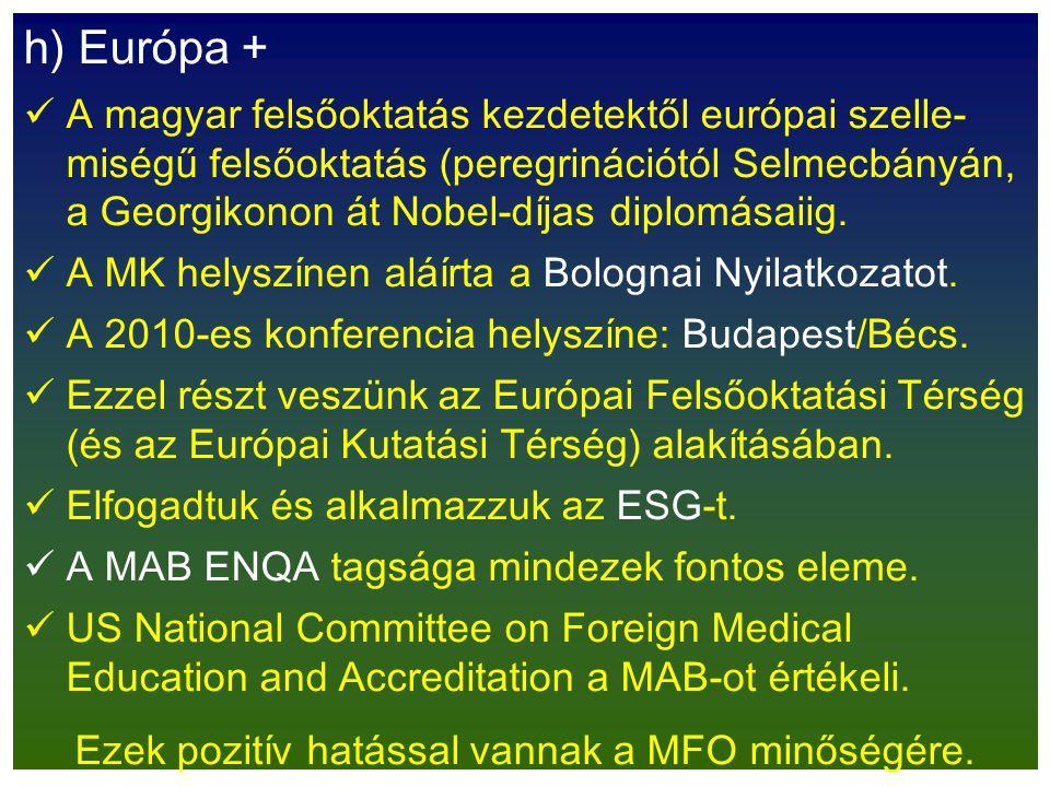 h) Európa + A magyar felsőoktatás kezdetektől európai szelle- miségű felsőoktatás (peregrinációtól Selmecbányán, a Georgikonon át Nobel-díjas diplomás