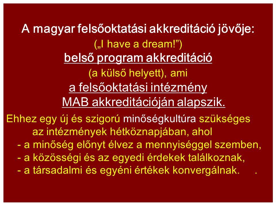 """A magyar felsőoktatási akkreditáció jövője: (""""I have a dream! ) belső program akkreditáció (a külső helyett), ami a felsőoktatási intézmény MAB akkreditációján alapszik."""