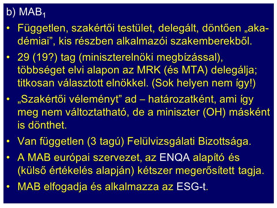 """b) MAB 1 Független, szakértői testület, delegált, döntően """"aka- démiai"""", kis részben alkalmazói szakemberekből. 29 (19?) tag (miniszterelnöki megbízás"""