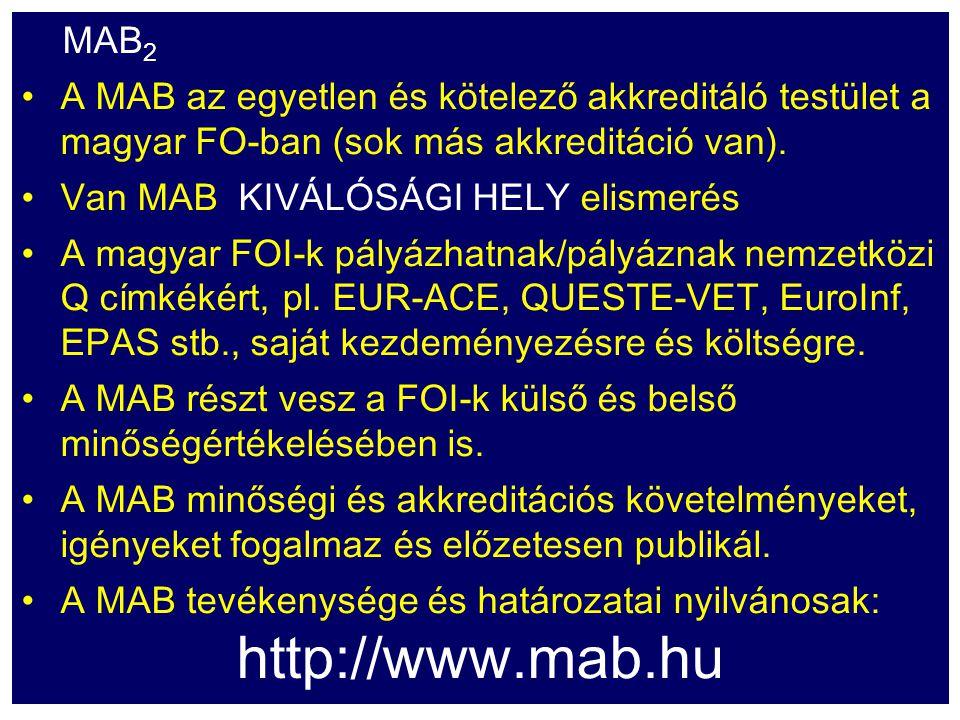 MAB 2 A MAB az egyetlen és kötelező akkreditáló testület a magyar FO-ban (sok más akkreditáció van). Van MAB KIVÁLÓSÁGI HELY elismerés A magyar FOI-k