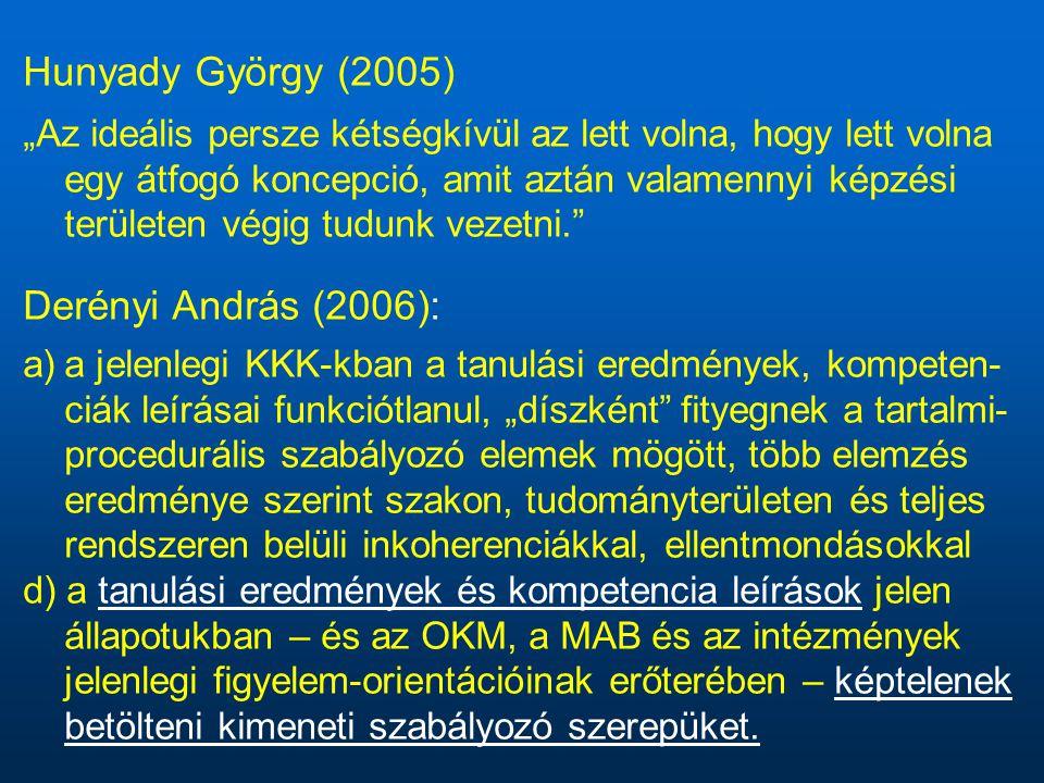 """Hunyady György (2005) """"Az ideális persze kétségkívül az lett volna, hogy lett volna egy átfogó koncepció, amit aztán valamennyi képzési területen végig tudunk vezetni. Derényi András (2006): a)a jelenlegi KKK-kban a tanulási eredmények, kompeten- ciák leírásai funkciótlanul, """"díszként fityegnek a tartalmi- procedurális szabályozó elemek mögött, több elemzés eredménye szerint szakon, tudományterületen és teljes rendszeren belüli inkoherenciákkal, ellentmondásokkal d) a tanulási eredmények és kompetencia leírások jelen állapotukban – és az OKM, a MAB és az intézmények jelenlegi figyelem-orientációinak erőterében – képtelenek betölteni kimeneti szabályozó szerepüket."""