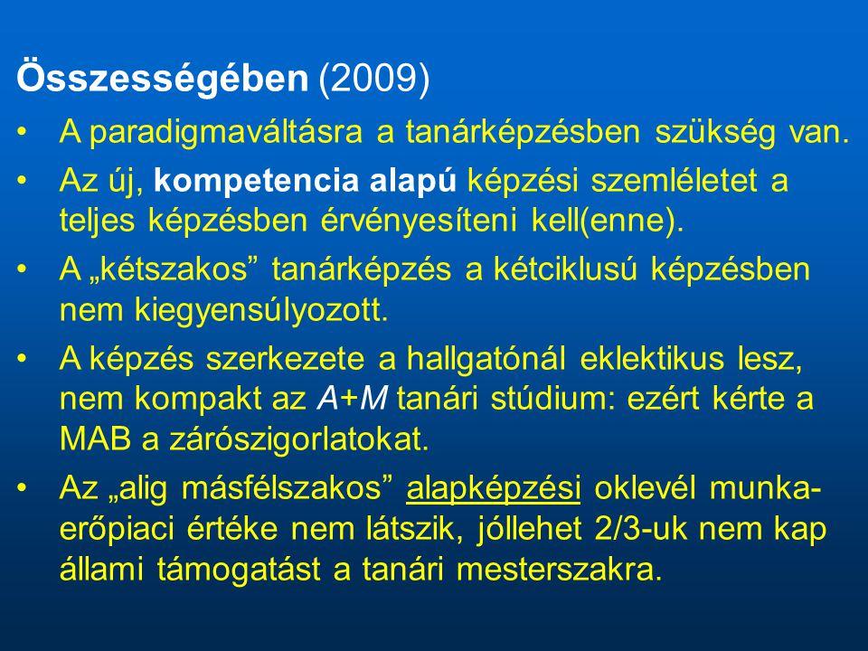 Összességében (2009) A paradigmaváltásra a tanárképzésben szükség van.
