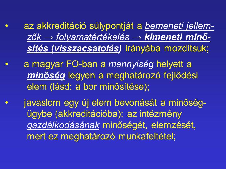 az akkreditáció súlypontját a bemeneti jellem- zők → folyamatértékelés → kimeneti minő- sítés (visszacsatolás) irányába mozdítsuk; a magyar FO-ban a mennyiség helyett a minőség legyen a meghatározó fejlődési elem (lásd: a bor minősítése); javaslom egy új elem bevonását a minőség- ügybe (akkreditációba): az intézmény gazdálkodásának minőségét, elemzését, mert ez meghatározó munkafeltétel;