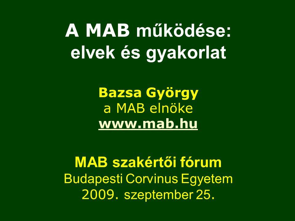 A MAB működése: elvek és gyakorlat Bazsa György a MAB elnöke www.mab.hu MAB szakértői fórum Budapesti Corvinus Egyetem 2009.