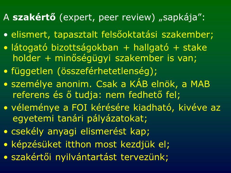 """A szakértő (expert, peer review) """"sapkája : elismert, tapasztalt felsőoktatási szakember; látogató bizottságokban + hallgató + stake holder + minőségügyi szakember is van; független (összeférhetetlenség); személye anonim."""