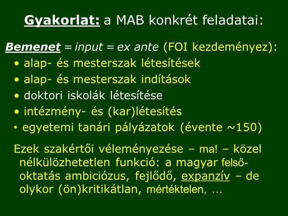 Gyakorlat: a MAB konkrét feladatai: Bemenet = input = ex ante (FOI kezdeményez): alap- és mesterszak létesítések alap- és mesterszak indítások doktori iskolák létesítése intézmény- és (kar)létesítés egyetemi tanári pályázatok (évente ~150) Ezek szakértői véleményezése – ma.