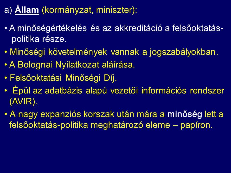 a) Állam (kormányzat, miniszter): A minőségértékelés és az akkreditáció a felsőoktatás- politika része.