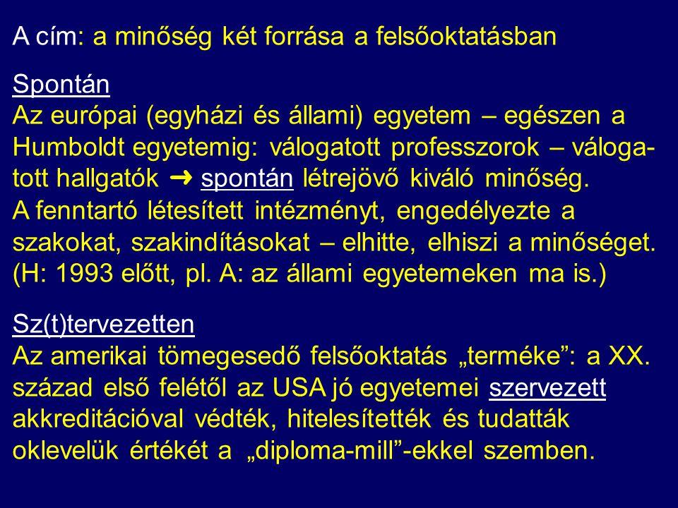 ➜ Az állam hatása a FO minőségére: A magyar felsőoktatási szféra befogadta a minőség- biztosítás és az akkreditáció szellemét és gyakorlatát.