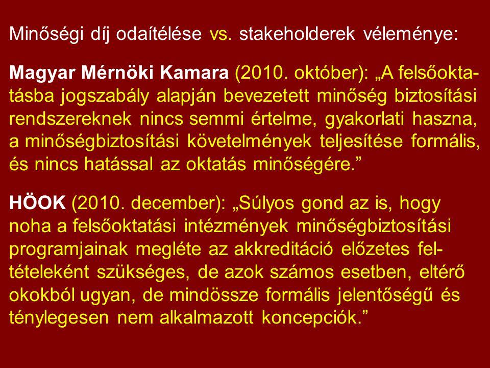 Minőségi díj odaítélése vs. stakeholderek véleménye: Magyar Mérnöki Kamara (2010.