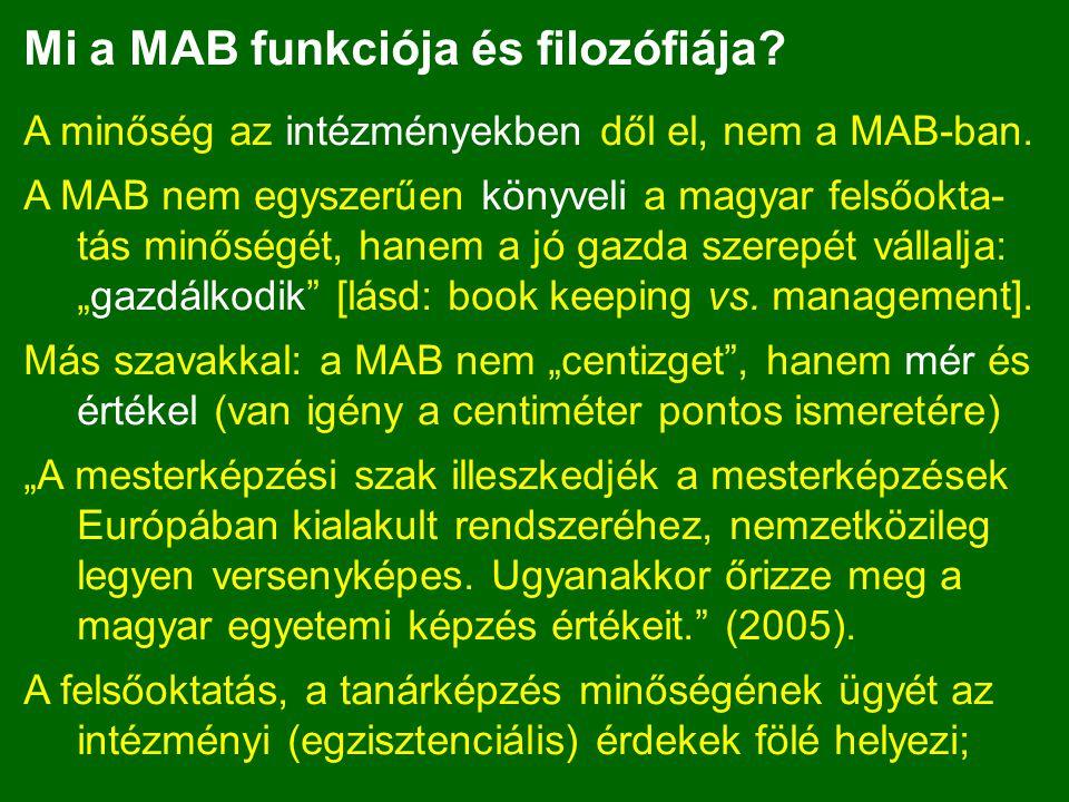 Mi a MAB funkciója és filozófiája? A minőség az intézményekben dől el, nem a MAB-ban. A MAB nem egyszerűen könyveli a magyar felsőokta- tás minőségét,